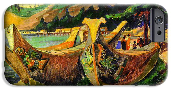 Recently Sold -  - Canoe iPhone Cases - War Canoes iPhone Case by Emily Carr