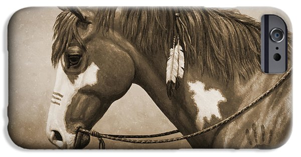 Old Photos iPhone Cases - War Horse Old Photo FX iPhone Case by Crista Forest