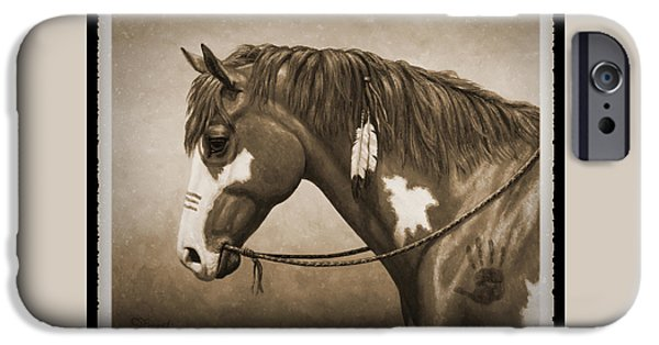 Wild Horse iPhone Cases - War Horse Old Photo FX iPhone Case by Crista Forest