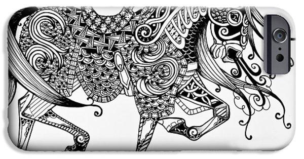 Freimann iPhone Cases - War Horse - Zentangle iPhone Case by Jani Freimann