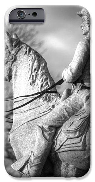 War Horses - 8th Pennsylvania Cavalry Regiment Pleasonton Avenue Sunset Autumn Gettysburg iPhone Case by Michael Mazaika