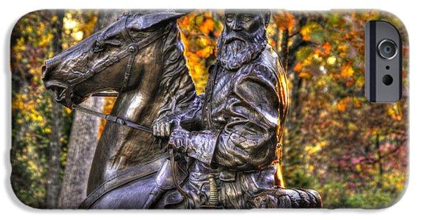 The Horse iPhone Cases - War Horses - Lieutenant General James Longstreet Commanding First Corps Gettysburg iPhone Case by Michael Mazaika