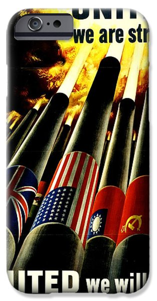 Old Glory iPhone Cases - War Poster - WW2 - United Allies iPhone Case by Benjamin Yeager