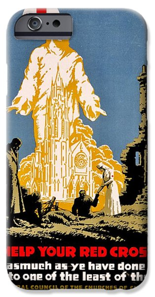 War Poster - WW1 - Christians Support Red Cross iPhone Case by Benjamin Yeager
