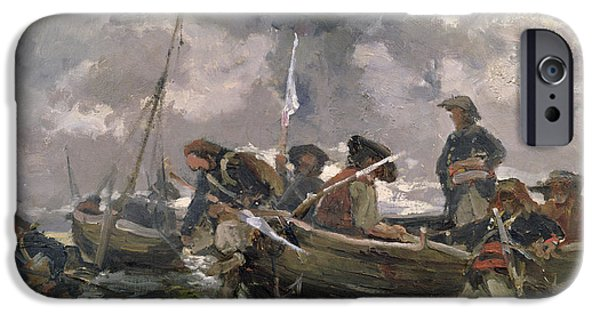 Boat Paintings iPhone Cases - War scene at sea iPhone Case by Paul Emile Boutigny