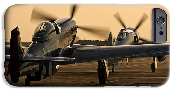 Fury iPhone Cases - Warbirds Taxi Out For A Sunset Flight iPhone Case by Rick Pisio