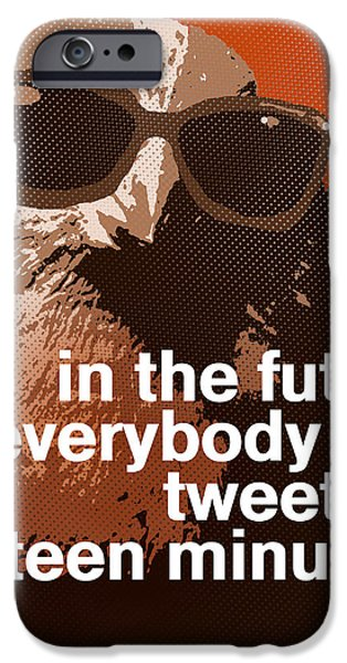 Warhol Bird Tweet for Fifteen Minutes Parody iPhone Case by Anthony Ross