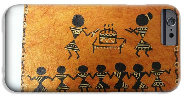 Etc. Paintings iPhone Cases - Warli Birthday iPhone Case by Deepika B