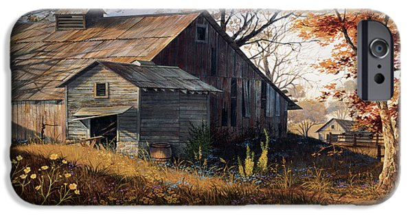 Barns Paintings iPhone Cases - Warm Memories iPhone Case by Michael Humphries