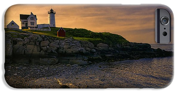Nubble Lighthouse iPhone Cases - Warm Nubble Dawn iPhone Case by Joan Carroll