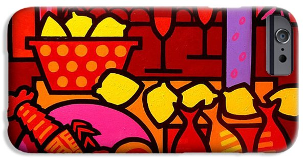Red Wine Prints iPhone Cases - Warm Still Life at Window iPhone Case by John  Nolan