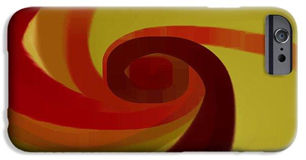 Ben Gertsberg Digital Art iPhone Cases - Warm Swirl iPhone Case by Ben and Raisa Gertsberg