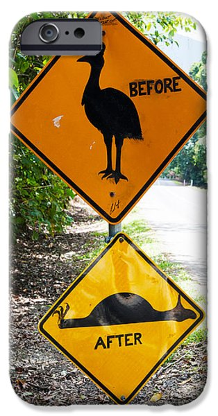 Sign iPhone Cases - Warning Sign At The Roadside, Cape iPhone Case by Panoramic Images