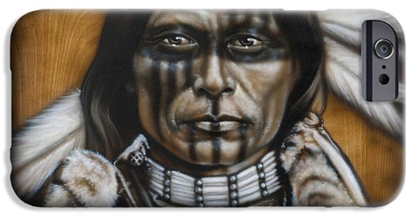 Native-american iPhone Cases - Warpaint iPhone Case by Tim  Scoggins