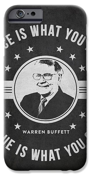 Banking iPhone Cases - Warren Buffet - Charcoal iPhone Case by Aged Pixel