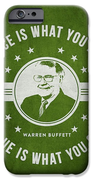 Wealth iPhone Cases - Warren Buffet - Green iPhone Case by Aged Pixel