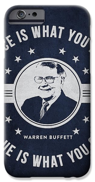 Banking iPhone Cases - Warren Buffet - Navy Blue iPhone Case by Aged Pixel
