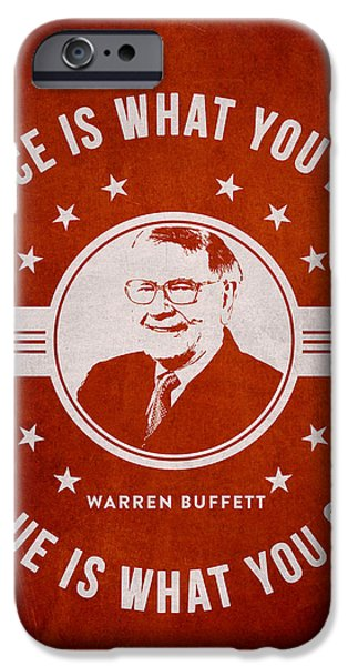 Banking iPhone Cases - Warren Buffet - Red iPhone Case by Aged Pixel