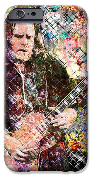 Epiphone Guitar iPhone Cases - Warren Haynes Govt Mule Original Painting Art Print iPhone Case by Ryan RockChromatic