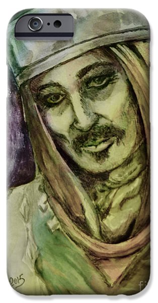 Mix Medium Drawings iPhone Cases - Warrior iPhone Case by Elaine Berger
