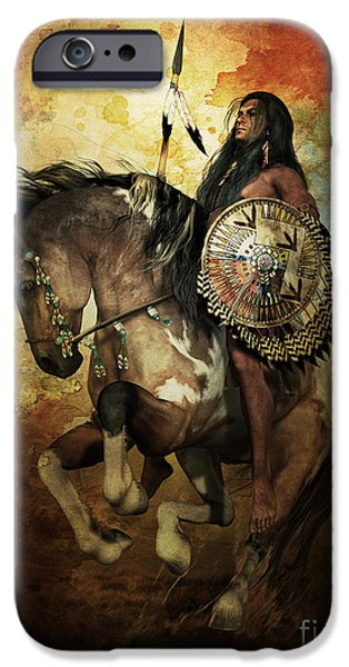 Horse Digital Art iPhone Cases - Warrior iPhone Case by Shanina Conway