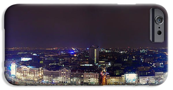Dark Skies iPhone Cases - Warsaw Night Panorama iPhone Case by Mountain Dreams