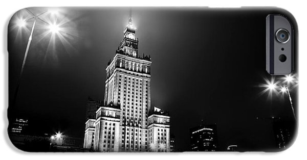 Polish Culture iPhone Cases - Warsaw Poland downtown skyline at night iPhone Case by Michal Bednarek