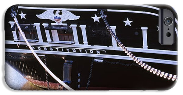 Warship iPhone Cases - Warship Moored At A Harbor, Uss iPhone Case by Panoramic Images