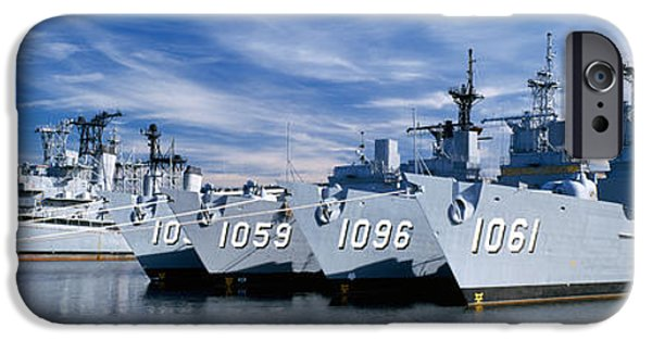 Warship iPhone Cases - Warships At A Naval Base, Philadelphia iPhone Case by Panoramic Images