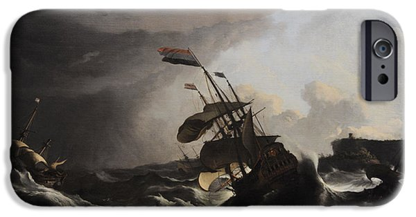 Warship iPhone Cases - Warships In A Heavy Storm, C. 1695, By Ludolf Bakhuysen 1631-1708 iPhone Case by Bridgeman Images