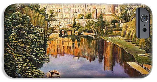 Swans... iPhone Cases - Warwick Castle, 2008 Oil On Canvas iPhone Case by Kevin Parrish