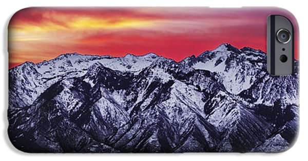 Snow iPhone Cases - Wasatch Sunrise 3x1 iPhone Case by Chad Dutson