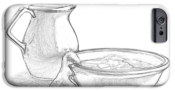 """indoor"" Still Life Mixed Media iPhone Cases - Wash Basin and Water Pitcher iPhone Case by Linda Muir"