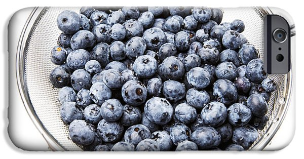 Berry iPhone Cases - Washed Fresh Blueberries in Strainer iPhone Case by Donald  Erickson