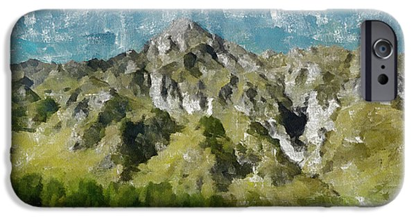 Mountains iPhone Cases - Washed Out iPhone Case by Ayse Deniz