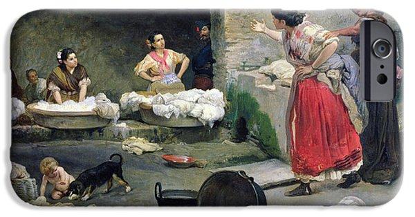 19th Century iPhone Cases - Washerwomen Disputing iPhone Case by Jose-Jimenes Aranda