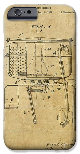 Washing Machine iPhone Cases - Washing Machine - Patented on 1931 iPhone Case by Pablo Franchi