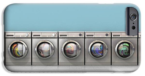 Copy Machine iPhone Cases - Washing Machine Full Single iPhone Case by Allan Swart