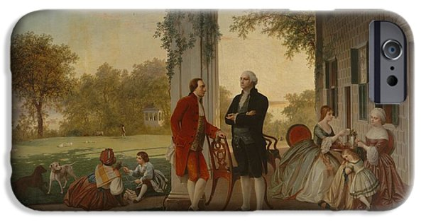 Recently Sold -  - American Revolution iPhone Cases - Washington and Lafayette at Mount Vernon 1784 iPhone Case by Thomas Pritchard Rossiter