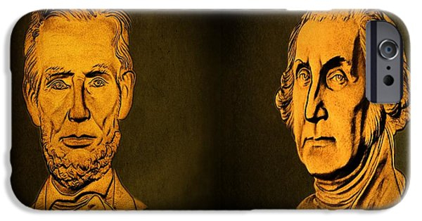 Constitution iPhone Cases - Washington and Lincoln iPhone Case by David Dehner