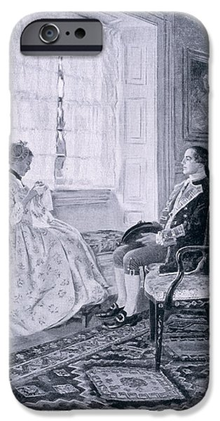 First Love iPhone Cases - Washington And Mary Philipse, Illustration From Colonel Washington By Woodrow Wilson, Pub iPhone Case by Howard Pyle