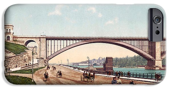 Horse Racing Digital iPhone Cases - Washington Bridge 1901 iPhone Case by Unknown