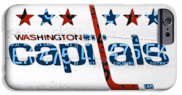 Washington Mixed Media iPhone Cases - Washington Capitals Retro Hockey Team Logo Recycled District of Columbia License Plate Art iPhone Case by Design Turnpike