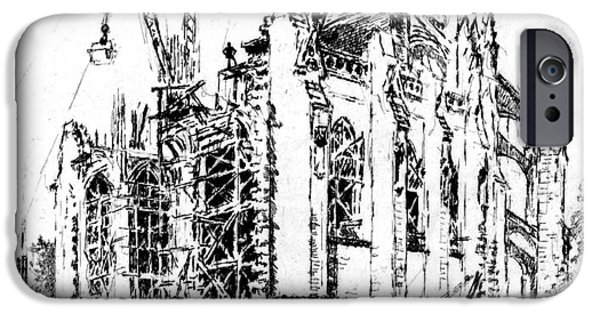 Padre Art iPhone Cases - Washington Cathedral Construction 1923 iPhone Case by Padre Art