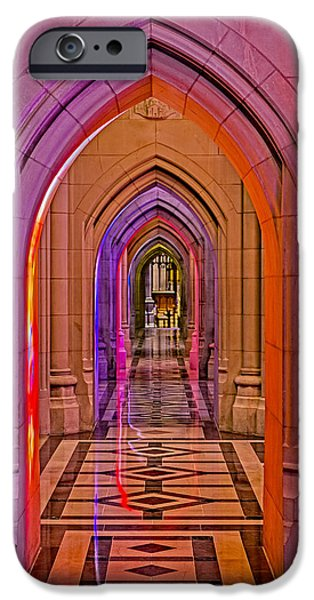 D.c. iPhone Cases - Washington Cathedral Light Show iPhone Case by Susan Candelario