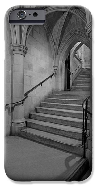 D.c. iPhone Cases - Washington Cathedral Staircase Architecture BW iPhone Case by Susan Candelario