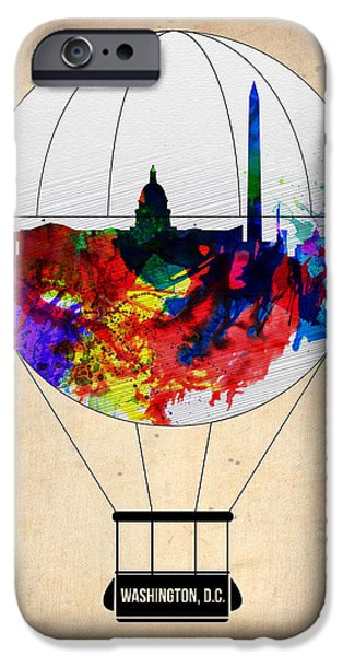 Washington Digital Art iPhone Cases - Washington D.C. Air Balloon iPhone Case by Naxart Studio
