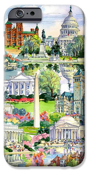 Smithsonian iPhone Cases - Washington DC painting iPhone Case by Maria Rabinky