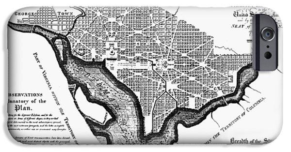 D.c. iPhone Cases - Washington, D.c. Plan, 1792 iPhone Case by Granger