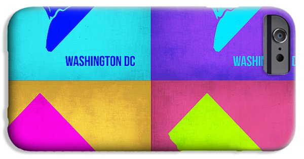 World Map Poster Digital Art iPhone Cases - Washington DC Pop Art Map 1 iPhone Case by Naxart Studio